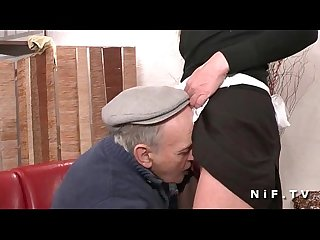 French maid fucked hard in threeway with Papy Voyeur