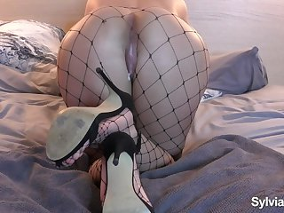 Fucked My Best Friends Wife Downward Doggystyle - Creampied Fishnet Tights