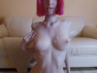 Hot amateur redhead with big tits getting fucked, cum on tits 4K 60FPS
